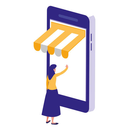 woman using smartphone with parasol vector illustration design