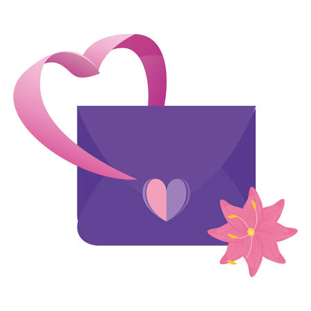 mail message love heart flower vector illustration Ilustração