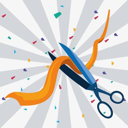 commercial grand opening scissors vector illustration design Banco de Imagens - 132123426
