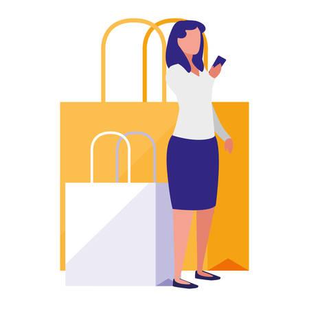 woman using smartphone with shopping bag vector illustration design Ilustração