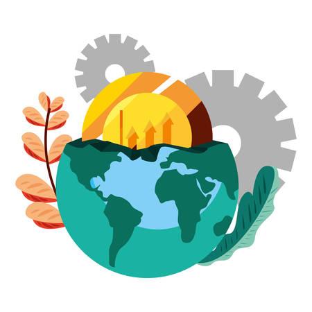 world coin diagram gears vector illustration design Ilustração