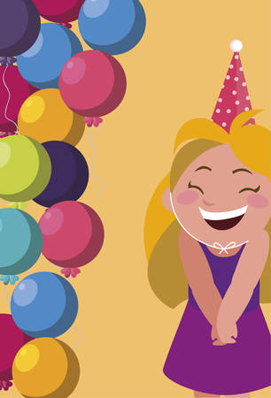 cute happy girl with birthday balloons helium vector illustration design  イラスト・ベクター素材