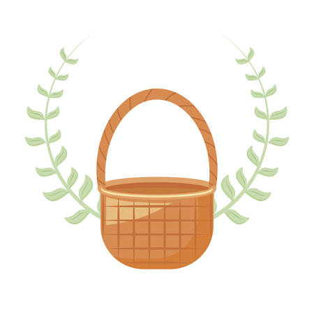 wicker basket with crown of leaves vector illustration design  イラスト・ベクター素材
