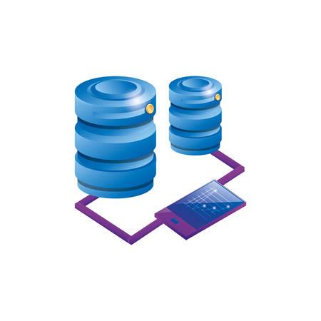 smartphone with data center disk vector illustration design