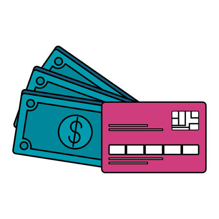 credit card with bills dollars vector illustration design 向量圖像