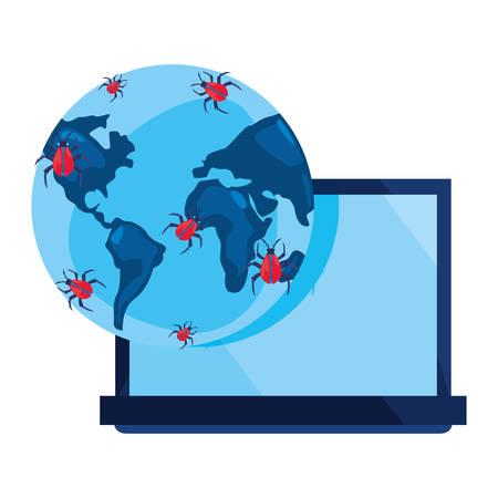 laptop world virus cybersecurity data protection vector illustration Ilustração