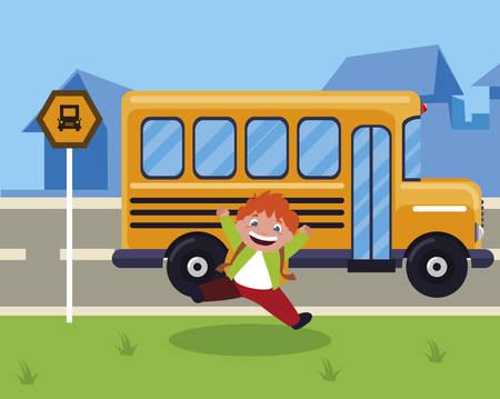 little schoolboy with schoolbag in the bus stop vector illustration design Ilustração