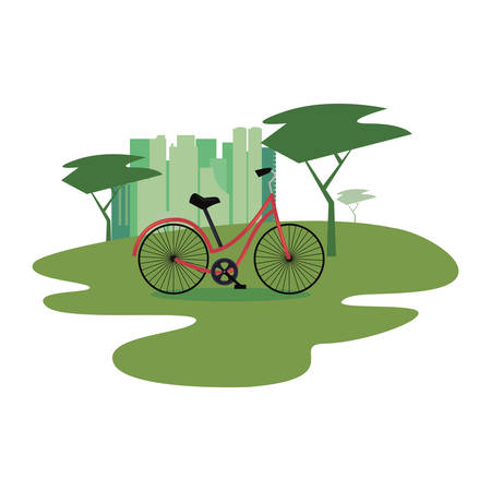 bicycle in the park city vector illustration