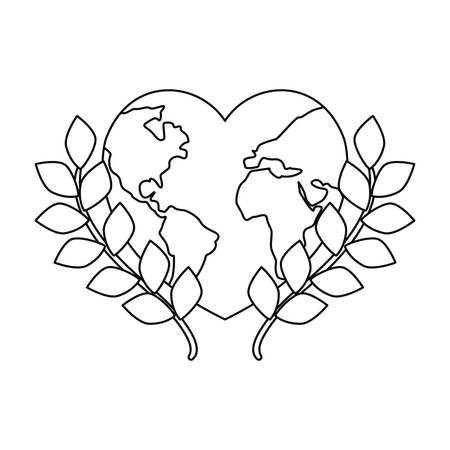 world shaped a heart leaves happy earth day vector illustration