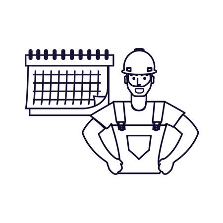 worker construction man with calendar reminder vector illustration design Иллюстрация