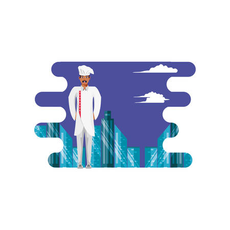 professional chef with cityscape vector illustration design