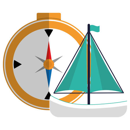 compass travel guide with sailboat vector illustration design 向量圖像