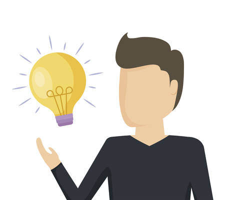 man with light bulb idea icon vector illustration design