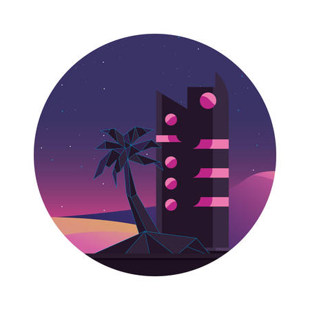 futuristic building palm beach style vector illustration
