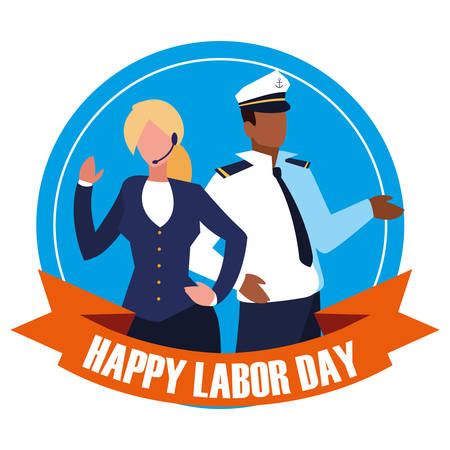 labour day celebration seal with sailor man with businesswoman vector illustration design 일러스트