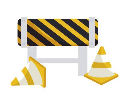 barricade with cones of signaling vector illustration design Banco de Imagens - 132247581