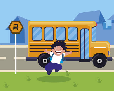 little schoolboy with schoolbag in the bus stop vector illustration design Ilustrace