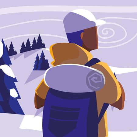 young man in forest landscape scene vector illustration design  イラスト・ベクター素材