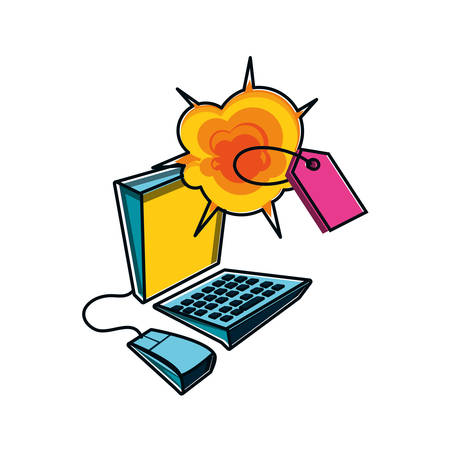 tag commercial with explosion and desktop computer vector illustration design
