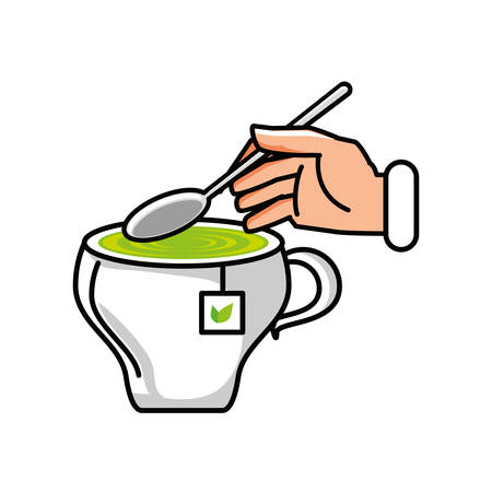 cup of tea with hand and spoon vector illustration design