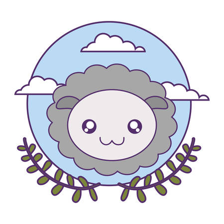 head of cute little sheep baby with crown leafs vector illustration design