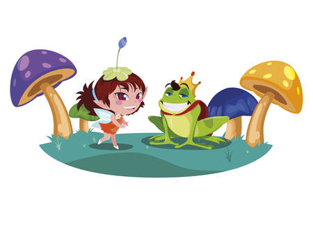 beautiful magic fairy with toad prince in the garden vector illustration design Çizim