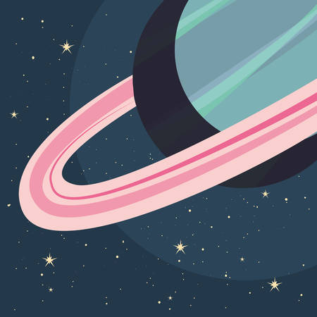planet cosmos galaxy stars vector illustration design
