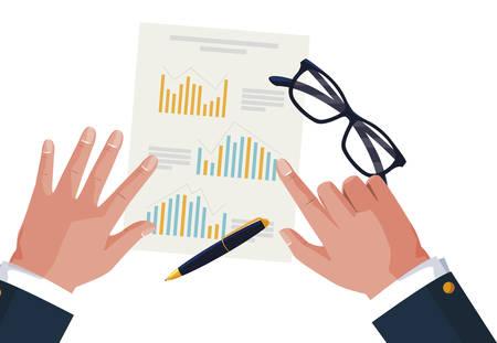 businessman hands working with supplies vector illustration design Ilustracja