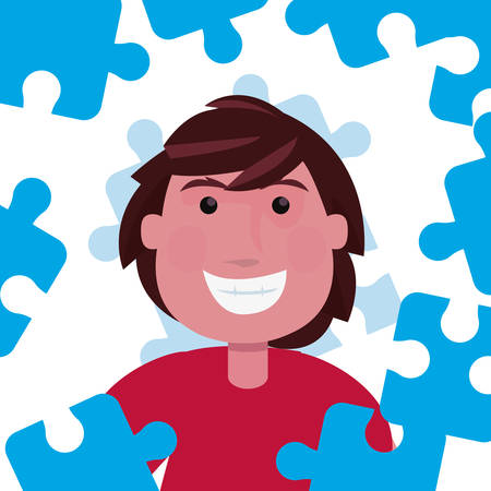 happy boy blue puzzles autism day vector illustration 写真素材 - 132259880