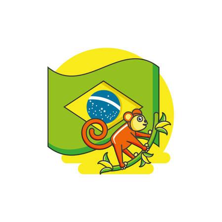 flag of brazil with monkey animal vector illustration design