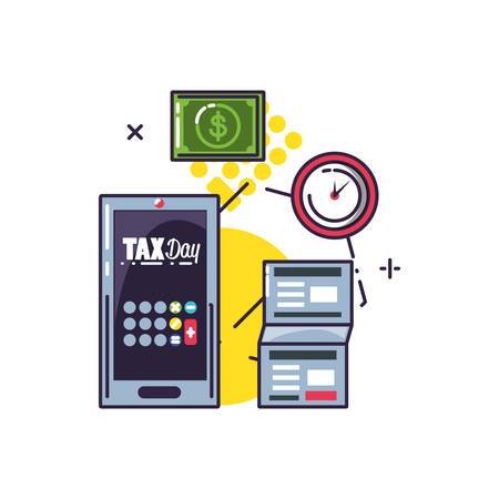 tax day with smartphone and set icons vector illustration design