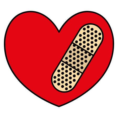 heart cardio with cure bandage vector illustration design Stock Illustratie