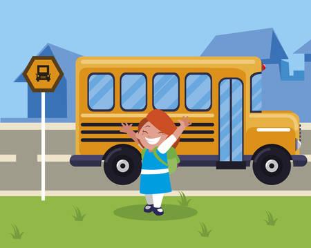 happy little schoolgirl with schoolbag in the bus stop vector illustration design