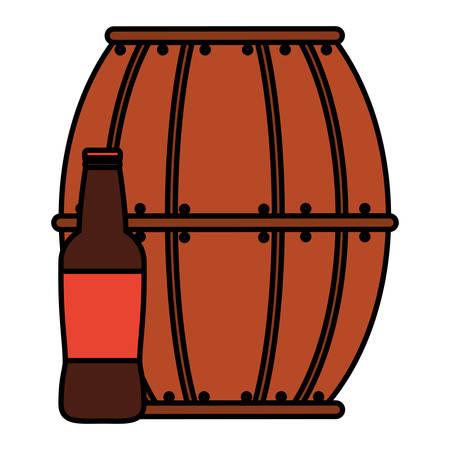 beer wooden barrel with bottle vector illustration design 向量圖像