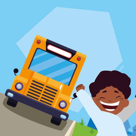 happy little black schoolboy in the bus stop vector illustration design