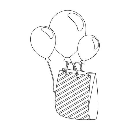 shopping bag and balloons on white background vector illustration