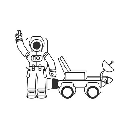 space explorer car with astronaut suit vector illustration design