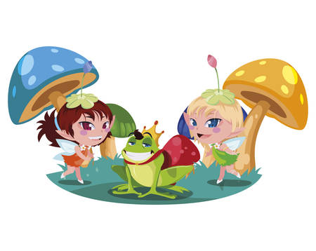beautiful magic fairies with toad prince in the garden vector illustration design Çizim