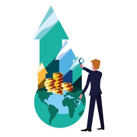 businessman world money growth arrows bank vector illustration vector illustration Çizim