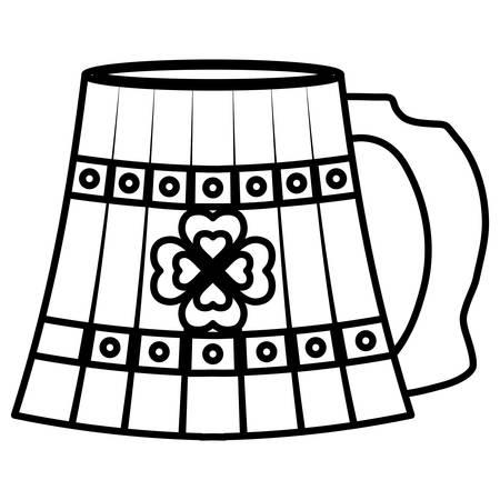 beer wooden jar with clover vector illustration design 向量圖像