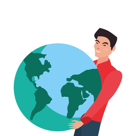 man holding world planet on white background vector illustration