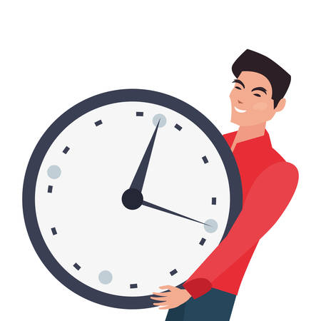 man holding round clock time on white background vector illustration