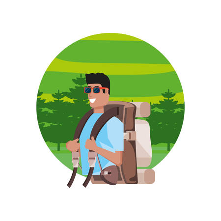 traveler man with travel bag and landscape vector illustration design Çizim