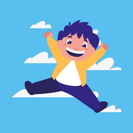 happy boy jumping clouds background vector illustration Illusztráció