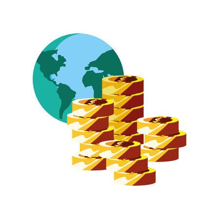 world coins stacked money currency vector illustration Ilustração