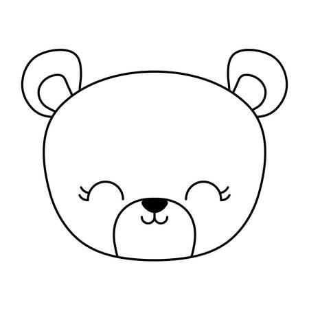 head of cute bear animal isolated icon vector illustration design Illustration