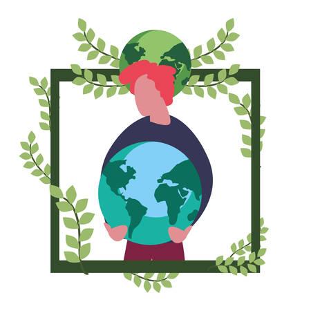 man with planet world happy earth day vector illustration Archivio Fotografico - 132240701