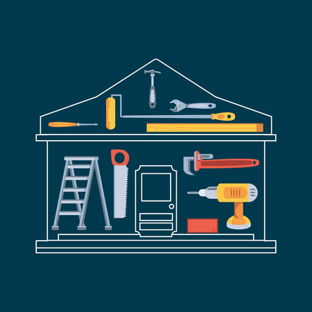 hammer with set tools construction in house shape vector illustration design  イラスト・ベクター素材