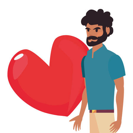 dad with love hearts happy fathers day vector illustration