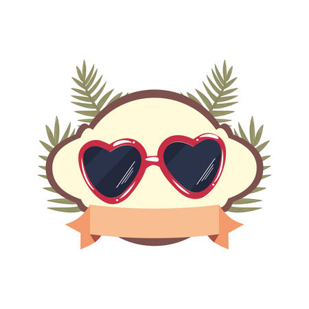 summer time holiday sunglasses badge tropical leaves vector illustration